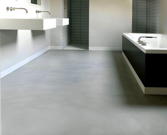 betonlook vloer lichtgrijs badkamer